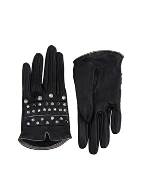 leather diamante gloves