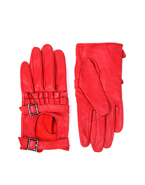 red buckle gloves