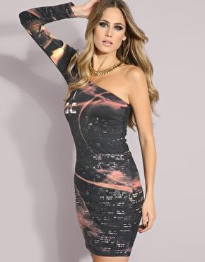 model city print dress
